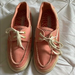 Coral Canvas Sperry Top Siders